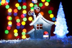 Romantic house with a Christmas illumination Royalty Free Stock Image