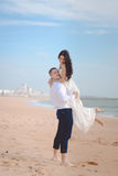 Romantic hugging loving couple on the beach Royalty Free Stock Image