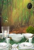 Romantic hunter table setting stock photos