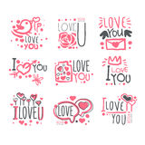 Romantic I Love You Message For St Valentines Day Postcard, Colorful Graphic Design Template Logo Series, Hand Drawn Royalty Free Stock Images