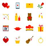 Romantic Icon Flat. Set with hearts love letter flower cupid isolated vector illustration Royalty Free Stock Photo