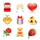 Romantic icons photo-realistic vector set Royalty Free Stock Photography