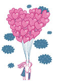 Romantic illustration. Pair of lovers under the balloons Stock Photo