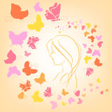 Romantic illustration with butterflies and girl si Royalty Free Stock Photo