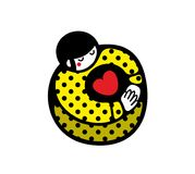 Romantic illustration of cartoon girl with heart in her hands. Royalty Free Stock Image