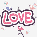 Romantic illustration with cute birds Stock Image