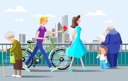 Romantic illustration for a meeting on the waterfront in the city Stock Image
