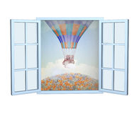 Romantic illustration with an open window and an air balloon. Against the sky. Isolated on white background royalty free illustration