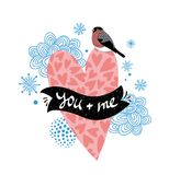 Romantic illustration with pink heart and winter bird. Stock Image