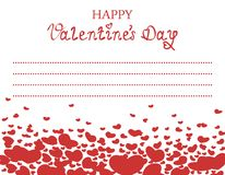 Valentines Card with Red Hearts. Romantic illustration with red hearts and the words `Happy Valentine`s Day` for Valentines Day and original declarations of love Royalty Free Stock Photos