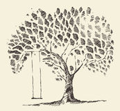 Romantic illustration tree swing hand drawn sketch Royalty Free Stock Image
