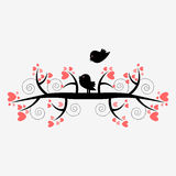 Romantic illustration of two birds on the tree Stock Image