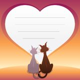 Romantic illustration with Cats. Vector Graphics Stock Photography