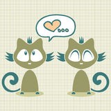 Romantic illustration two kittens Stock Photography