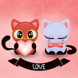 Romantic illustration with two kittens Royalty Free Stock Photos