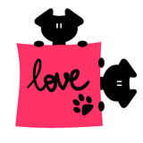 Romantic illustration of two puppies Stock Images
