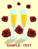 Card with Glasses and Rose Flowers. Romantic illustration with two wine glasses, sparkling alcohol and roses. Design of card, invitation, flyer, poster. For Stock Photography