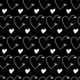 White hearts in form of arrows seamless dark vector black backgrounds for Valentine`s Day. Romantic illustration for wallpaper, w. Romantic illustration for vector illustration
