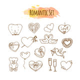 Romantic illustrations. Hand drawn wedding set. Doodle style elements for happy valentine day. Royalty Free Stock Image