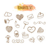 Romantic illustrations. Hand drawn wedding set. Doodle style elements for happy valentine day. Royalty Free Stock Photos