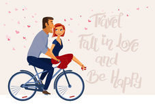 Romantic inspirational poster with couple in love  riding bike. Travel, Fall in Love and Be happy. Romantic inspirational poster with couple in love  riding Stock Images