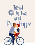 Romantic inspirational poster with couple in love  riding bike. Royalty Free Stock Photo