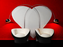 Romantic interior design with two armchairs Stock Photo