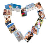Romantic Interracial Couples Love Romance Montage. Heart shaped montage of happy, romantic, mixed race couples enjoying romantic lifestyle, at beach embracing Stock Photography