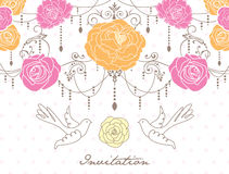 Romantic invitation card. Design with rose and birds Royalty Free Stock Image