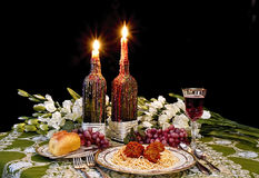 Romantic Italian Dinner Stock Photo