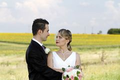 Romantic just married couple Stock Image