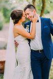 Romantic just married couple holding each other outdoor at sunny day in park Stock Photos