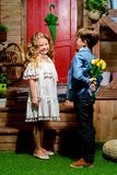 Romantic kids couple stock photography