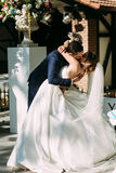 Romantic kiss during amazing wedding ceremony Royalty Free Stock Image