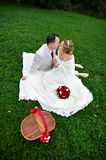 Romantic kiss bride and groom on wedding picnic. Romantic kiss happy bride and groom on grass on wedding picnic Stock Photos