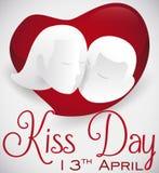Romantic Couple over Heart Shape Celebrating International Kiss Day, Vector Illustration Stock Photo