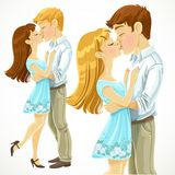 Romantic kiss loving couple Royalty Free Stock Image