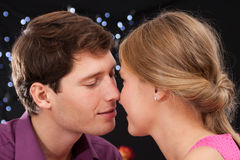Romantic kiss moment Stock Images