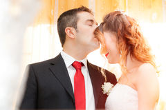 Romantic kiss of newlyweds Royalty Free Stock Images