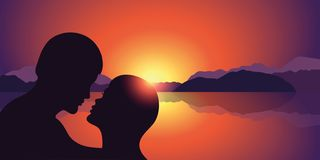 Romantic kiss silhouette at beautiful sunset lake and mountain landscape royalty free illustration