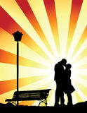 Romantic kiss (vector). Couple kissing togheter in a romantic place Stock Images