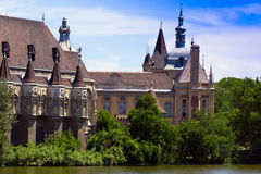 Romantic knight castle by the lake. Stock Photography