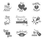 Romantic labels icons set Stock Photo