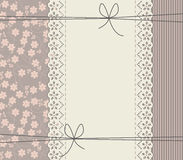Romantic lace frame with bows and flowers Stock Images