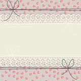 Romantic lace frame with cute hearts and bows Royalty Free Stock Photos