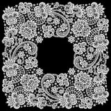 Romantic Lace Frame. White Romantic Lace Frame. Floral Pattern. Black background Stock Photography