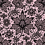Romantic Lace Seamless Pattern. Romantic Black Lace Seamless Pattern. Pink Background Royalty Free Stock Images