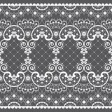 Romantic lace seamless vector pattern, vintage wedding lace design in white on gray background vector illustration