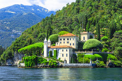 Romantic Lago di Como, villa del Balbianello. Scenic lake Lago di Como , Italy royalty free stock photo