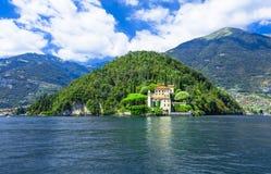Romantic Lago di Como, villa del Balbianello. Scenic lake Lago di Como , Italy royalty free stock photo